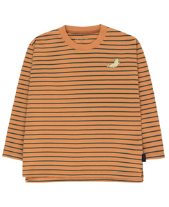 타이니코튼 STRIPES LS TEE_BROWN/BOTTLE GREEN